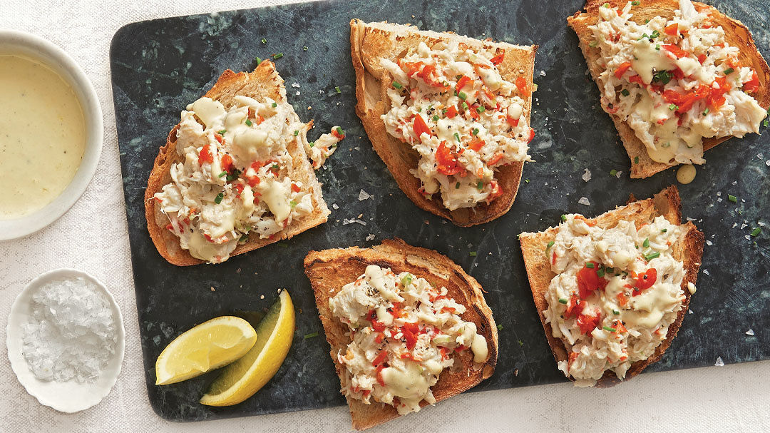Crab and Hollandaise Tartines