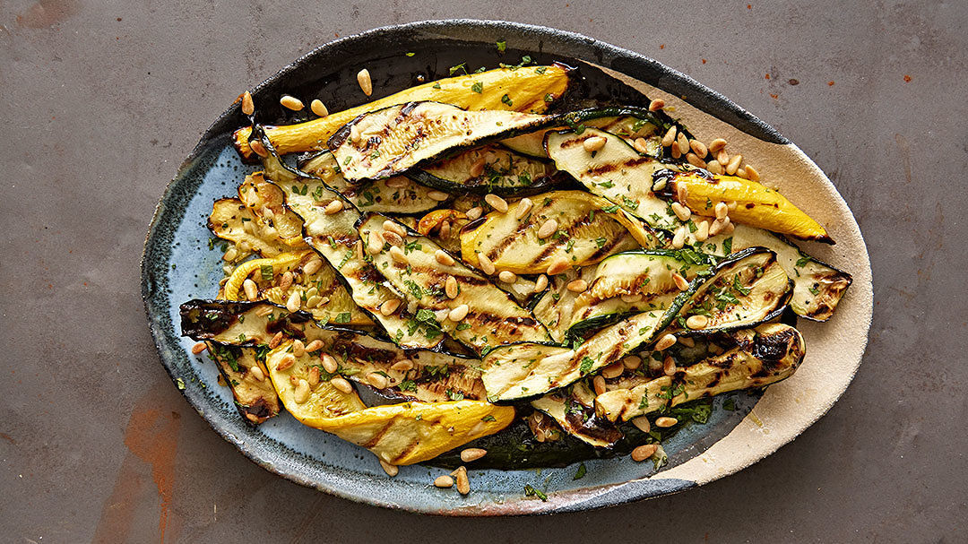 Grilled Summer Squash with Mint Vinaigrette and Pine Nuts