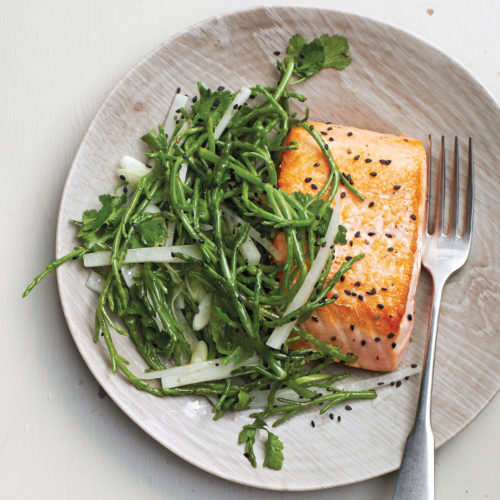 Seared Salmon with Sea Bean Salad