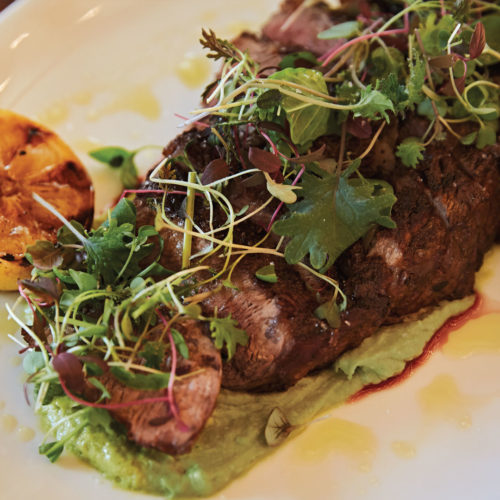 Grilled Rib-Eye with Avocado-Tahini Puree