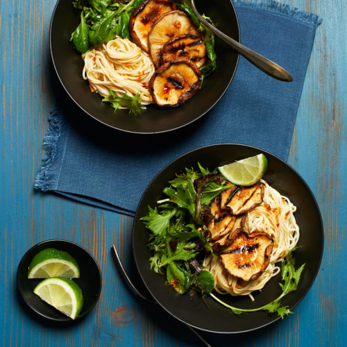 Grilled Shiitake Mushrooms with Greens and Noodles