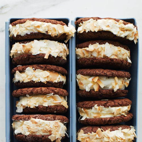 Coconut Fudge Ice Cream Sandwiches