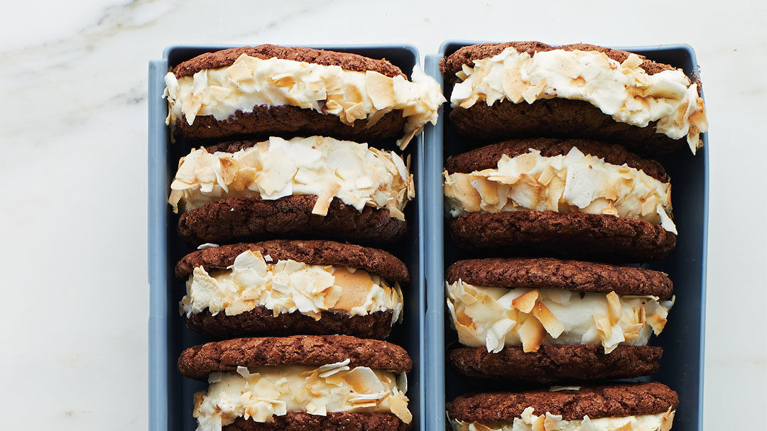 Fudge Cookie and Coconut Ice Cream Sandwiches
