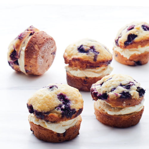 Blueberry Muffin-Peach Ice Cream Sandwiches