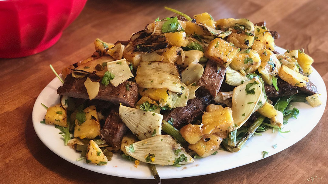 Spice Grilled Aussie Grassfed Skirt Steak with Grilled Pineapple & Fennel Chutney