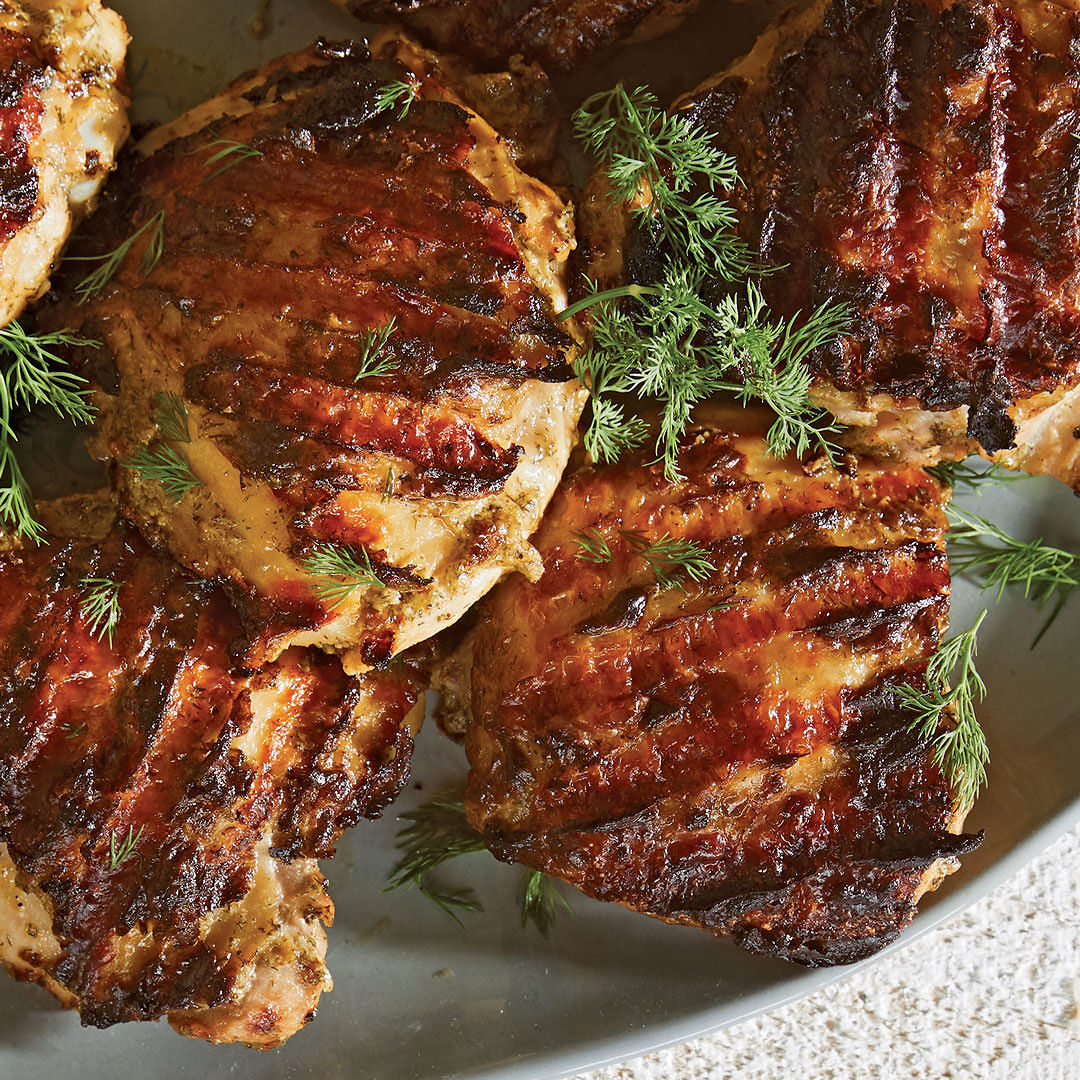 Grilled Chicken Thighs With Mustard And Dill