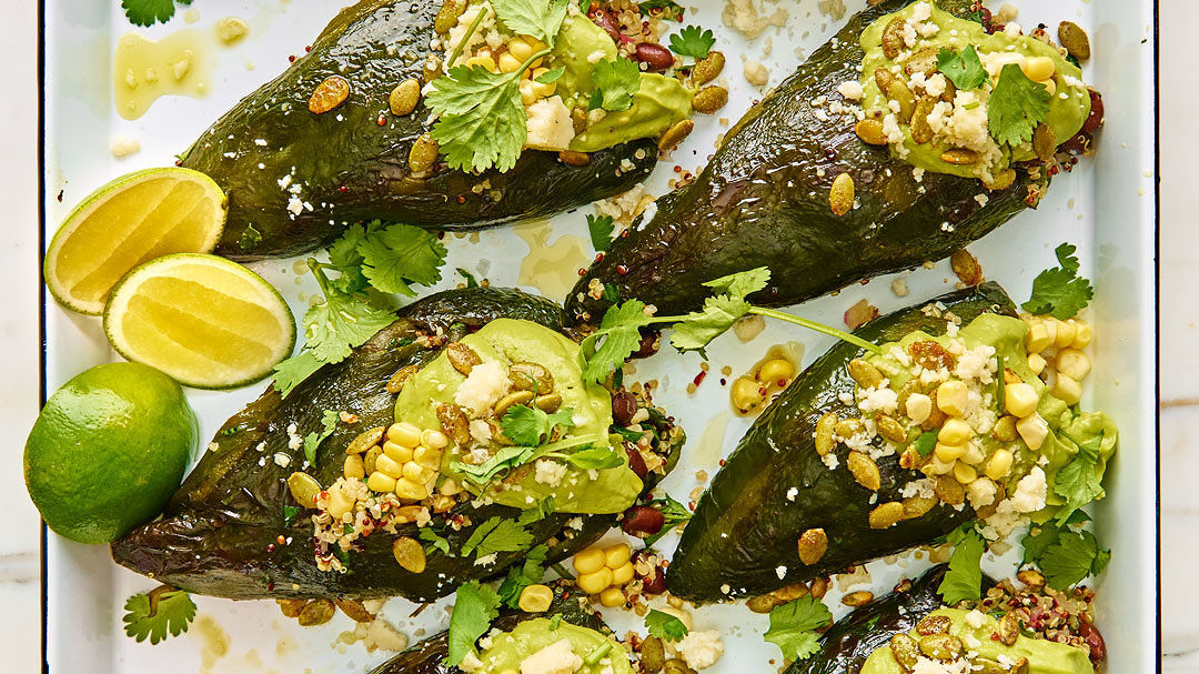 Charred Poblanos Stuffed with Sweet Corn and Black Bean Quinoa