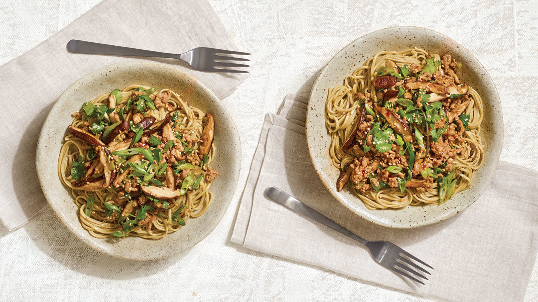Cha Soba Noodles with Ginger, Mushrooms, and Pork