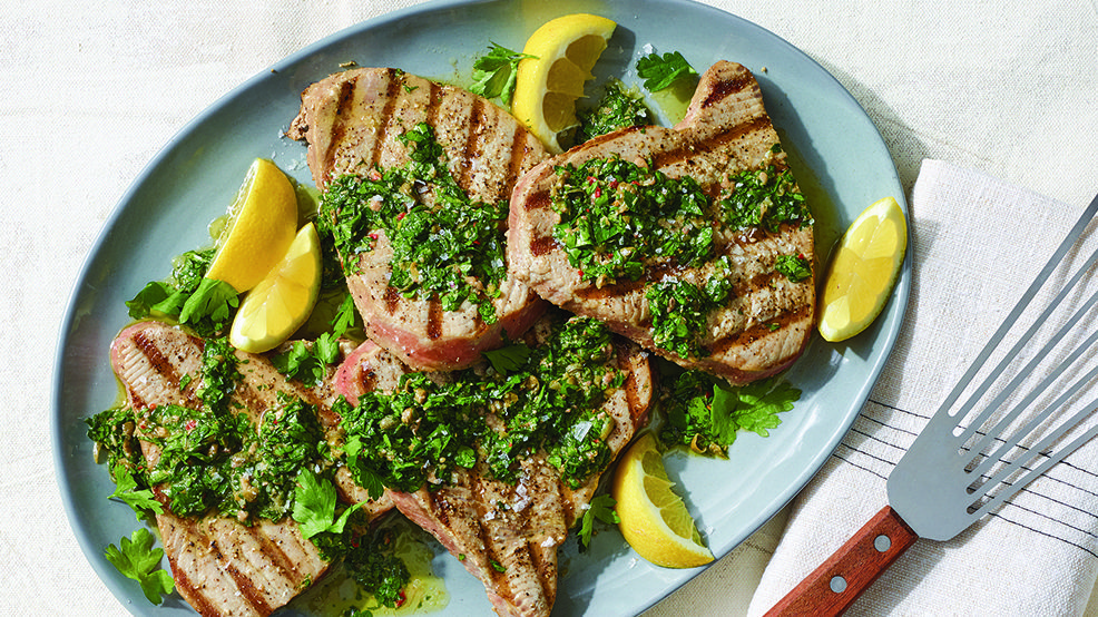 Grilled Tuna with Parsley-Caper Sauce