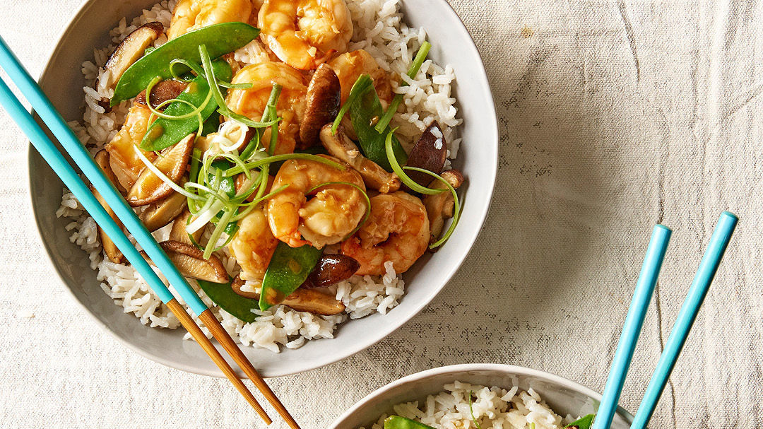 Coconut Rice Bowls with Shrimp and Vegetables