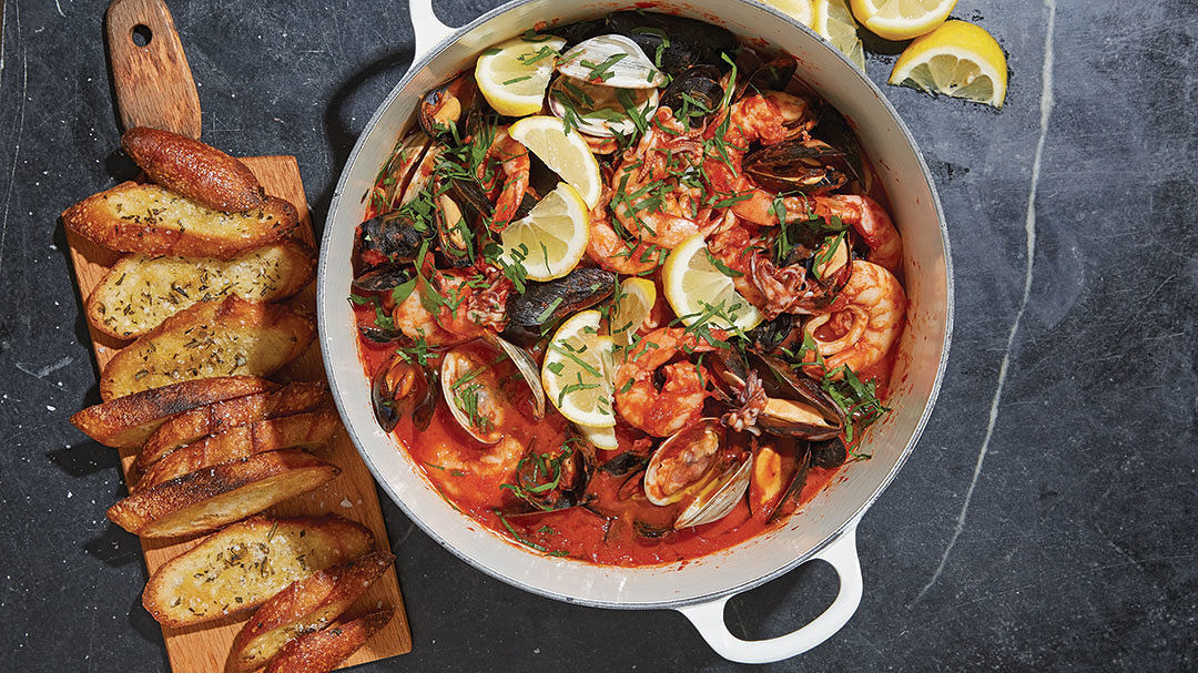 Seafood Cioppino with Rosemary Toast