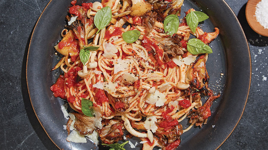 Capellini with Tomatoes, Shaved Pecorino and Wild Mushrooms