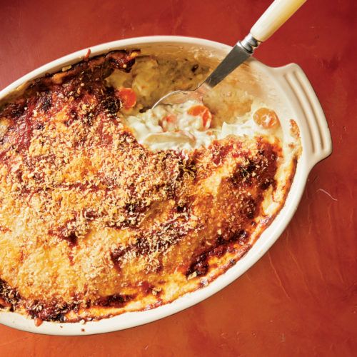 three-cheese root vegetable gratin