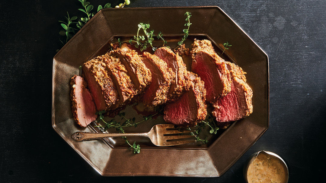 parmesan pepper-crusted beef tenderloin