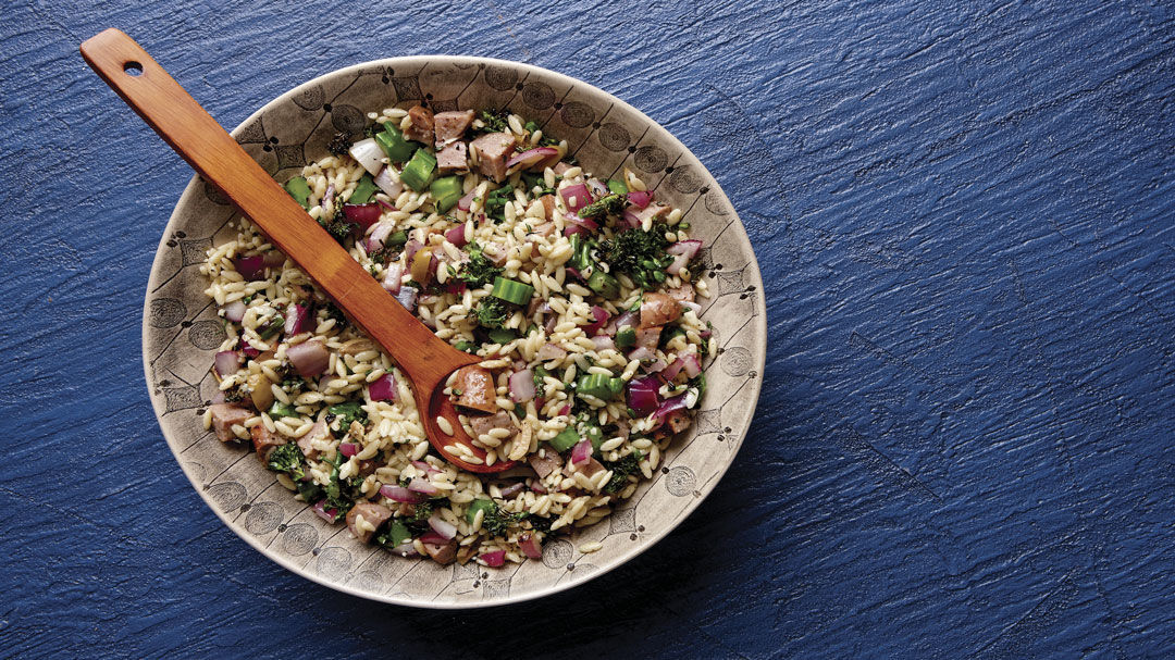 Orzo Salad with Grilled Broccolini and Sausage