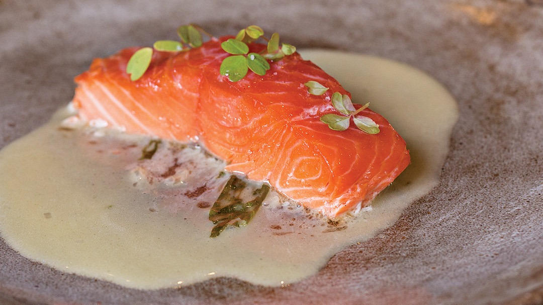 Smoked and Grilled Salmon with Beurre Blanc