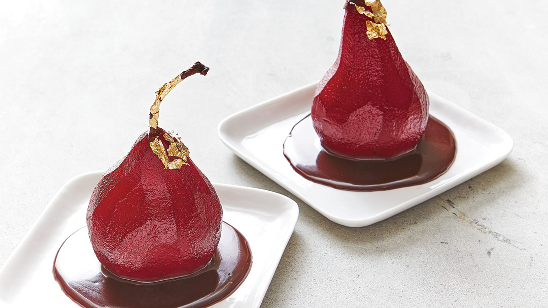 Red-Wine Poached Pears with Chocolate Sauce