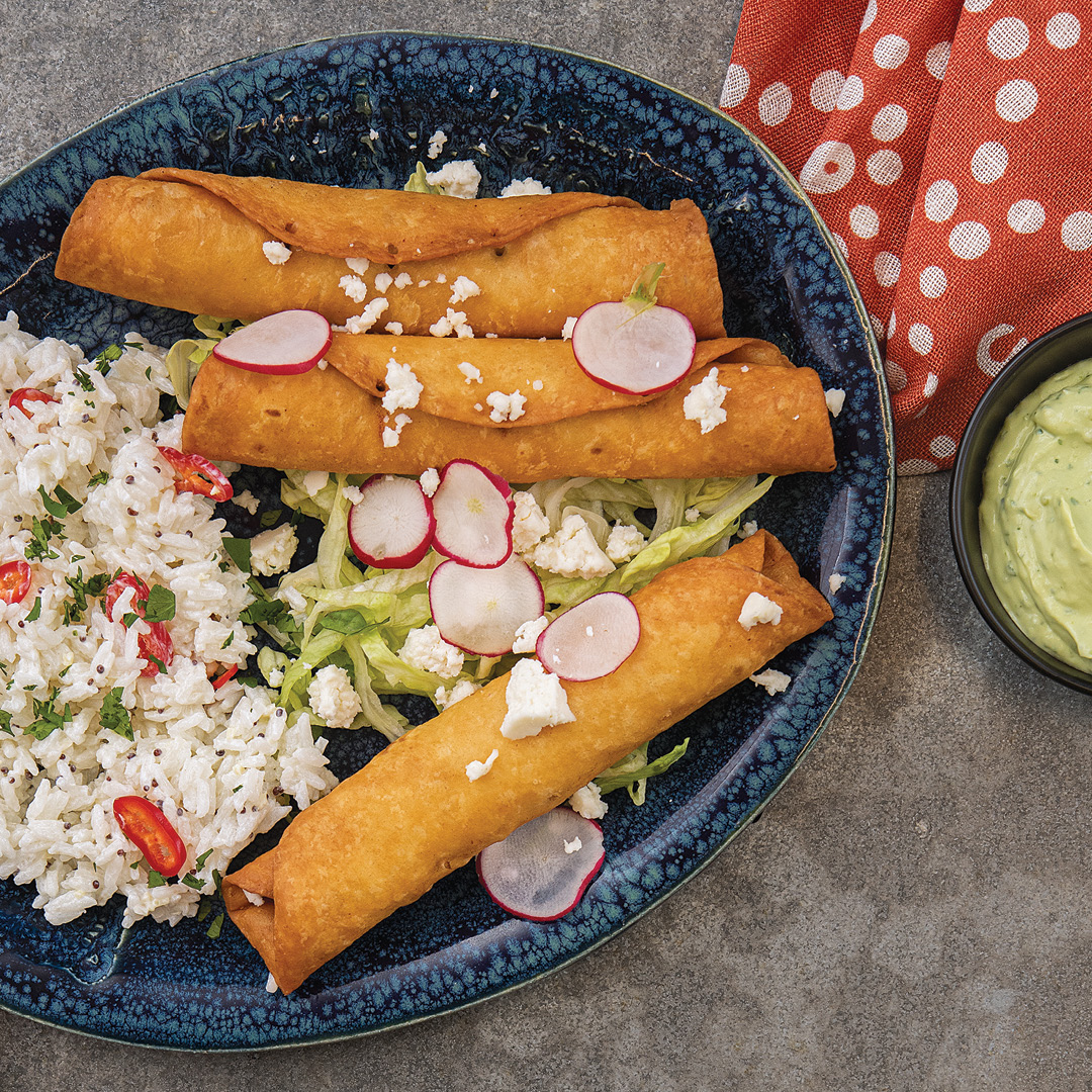 Turkey Flautas With Avocado Crema Recipe Finecooking
