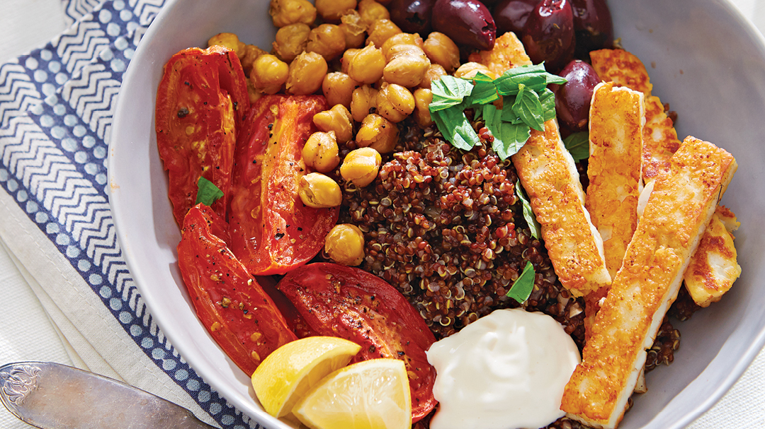 Quinoa Bowls with Seared Halloumi, Roasted Tomatoes, and Chickpeas