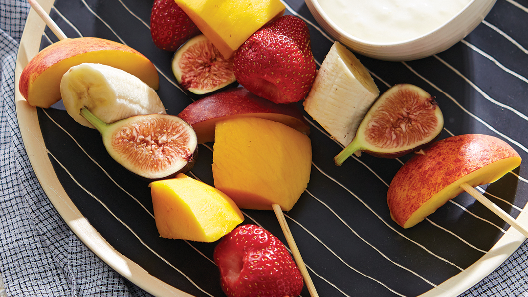 Fruit Skewers with Spiced Honey and Lemon-Vanilla Goat Cheese