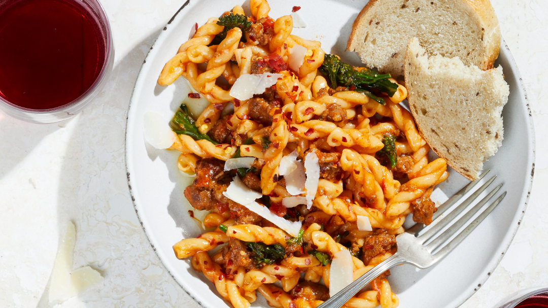 Gemelli with Tomatoes, Broccoli Rabe and Italian Sausage