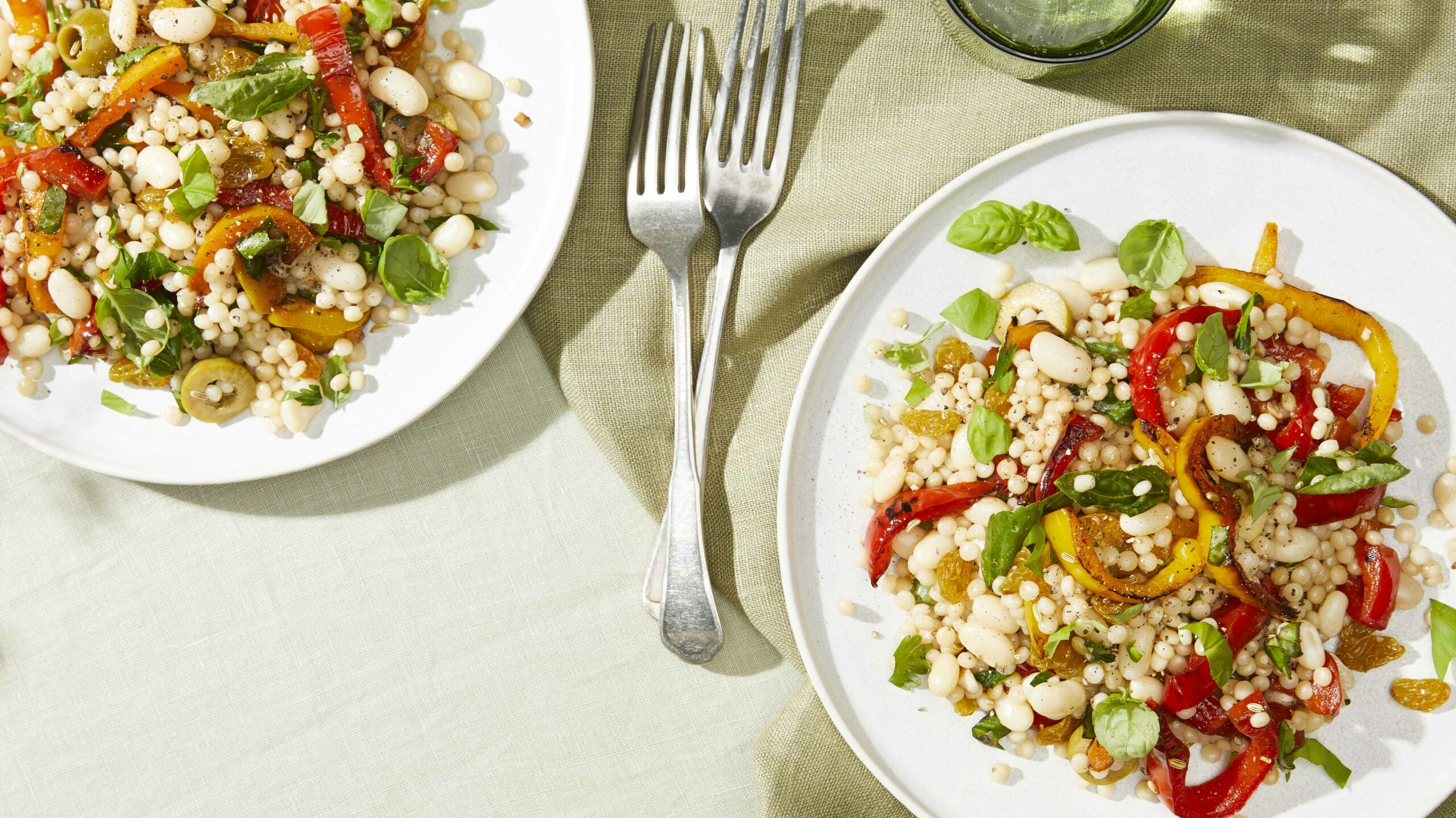 Marinated Pepper Salad with Cannellini Beans, Couscous, and Olives