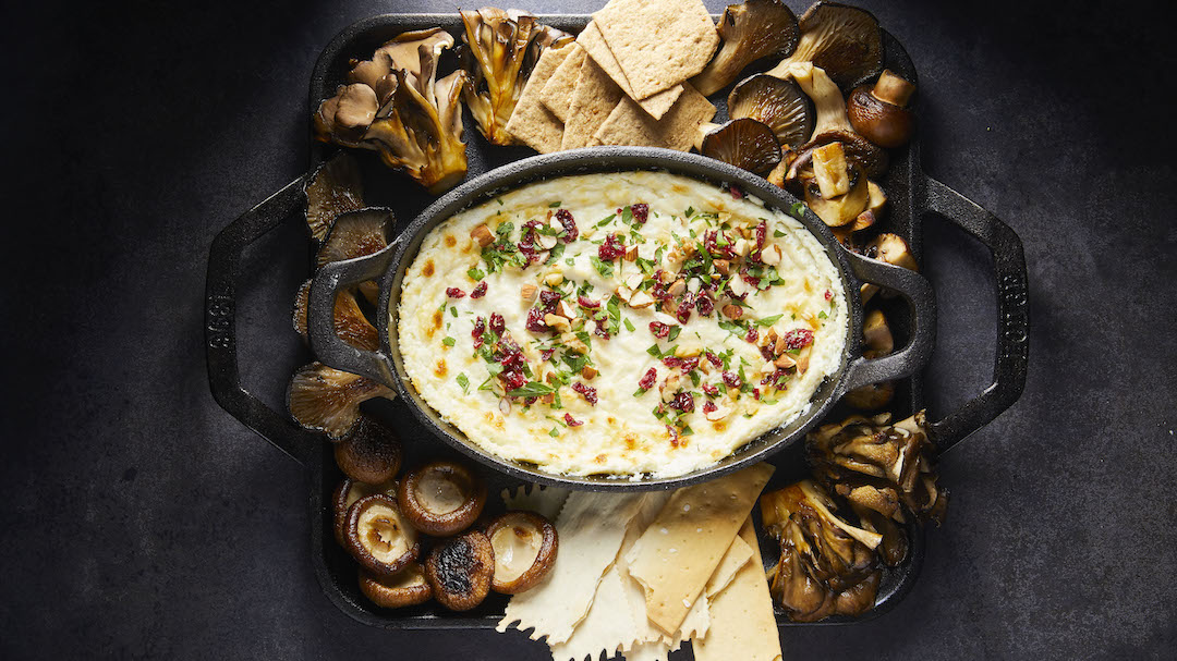 Baked Goat Cheese Dip with Crispy Mushrooms and Nutty Herb Confetti
