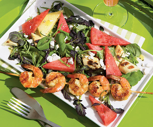 Watermelon and Cress Salad with Grilled Shrimp and Hearts of Palm