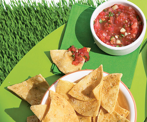 Grilled Watermelon Salsa with Spicy Lime Tortilla Chips