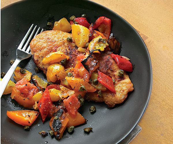 Chicken Cutlets With Bell Pepper Ragout Recipe Finecooking