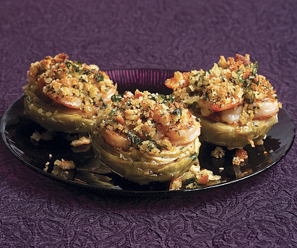 Artichoke Bottoms with Shrimp, Lemon Butter, and Herbed Breadcrumbs