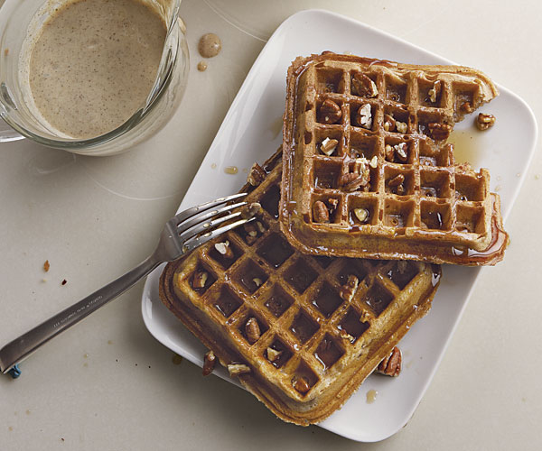 Spiced Yogurt Waffles with Toasted-Pecan Maple Syrup