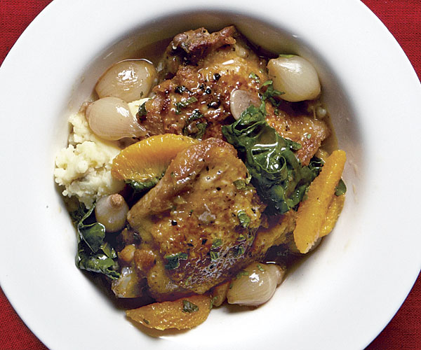 Cane Vinegar Chicken Stew with Pearl Onions, Oranges, and Spinach