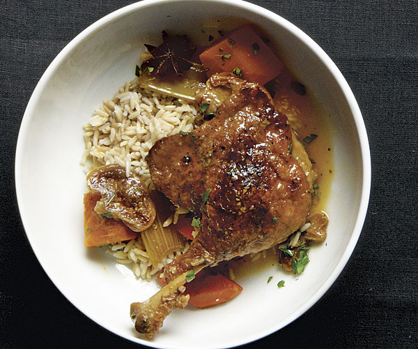 Braised Duck Legs with Figs, Star Anise, and Winter Squash