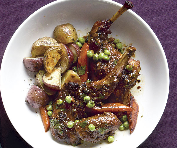 Spiced Rabbit Tagine with Peas and Carrots
