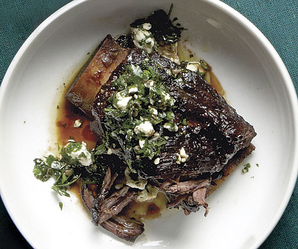 Braised Beed Short Ribs with Salsa Verde and Feta