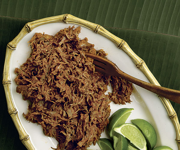 Pork Braised in Banana Leaves with Manchamantel Sauce