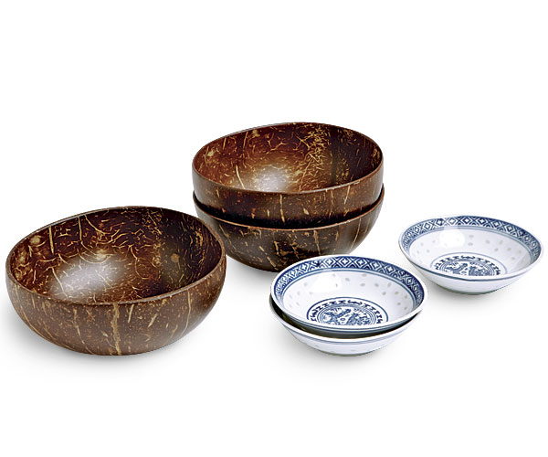 Blue and white rice-pattern soy dish and Bambu small naked coconut bowl