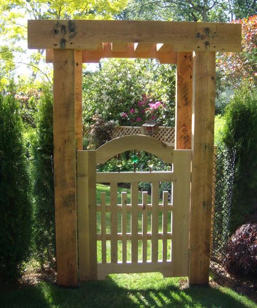 Garden gate and pergola