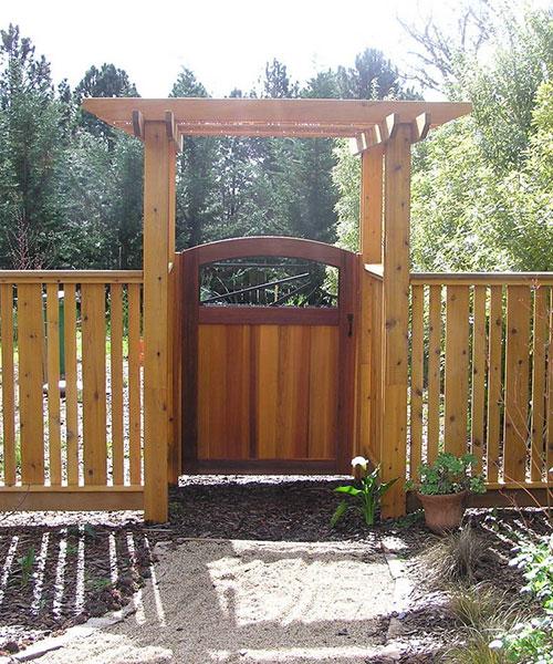 Cedar fence, arbor, and gate