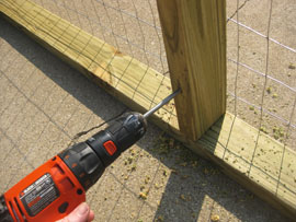 drilling screws into wooden compost frame