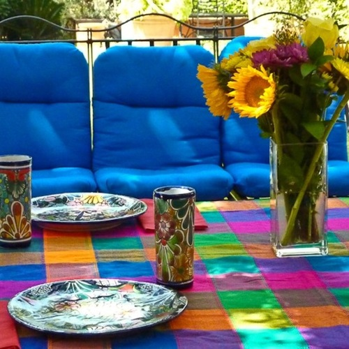 colorful table and blue seats