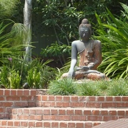 Buddha placed above steps