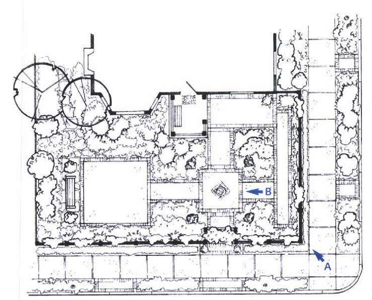 site plan for a front yard garden makeover