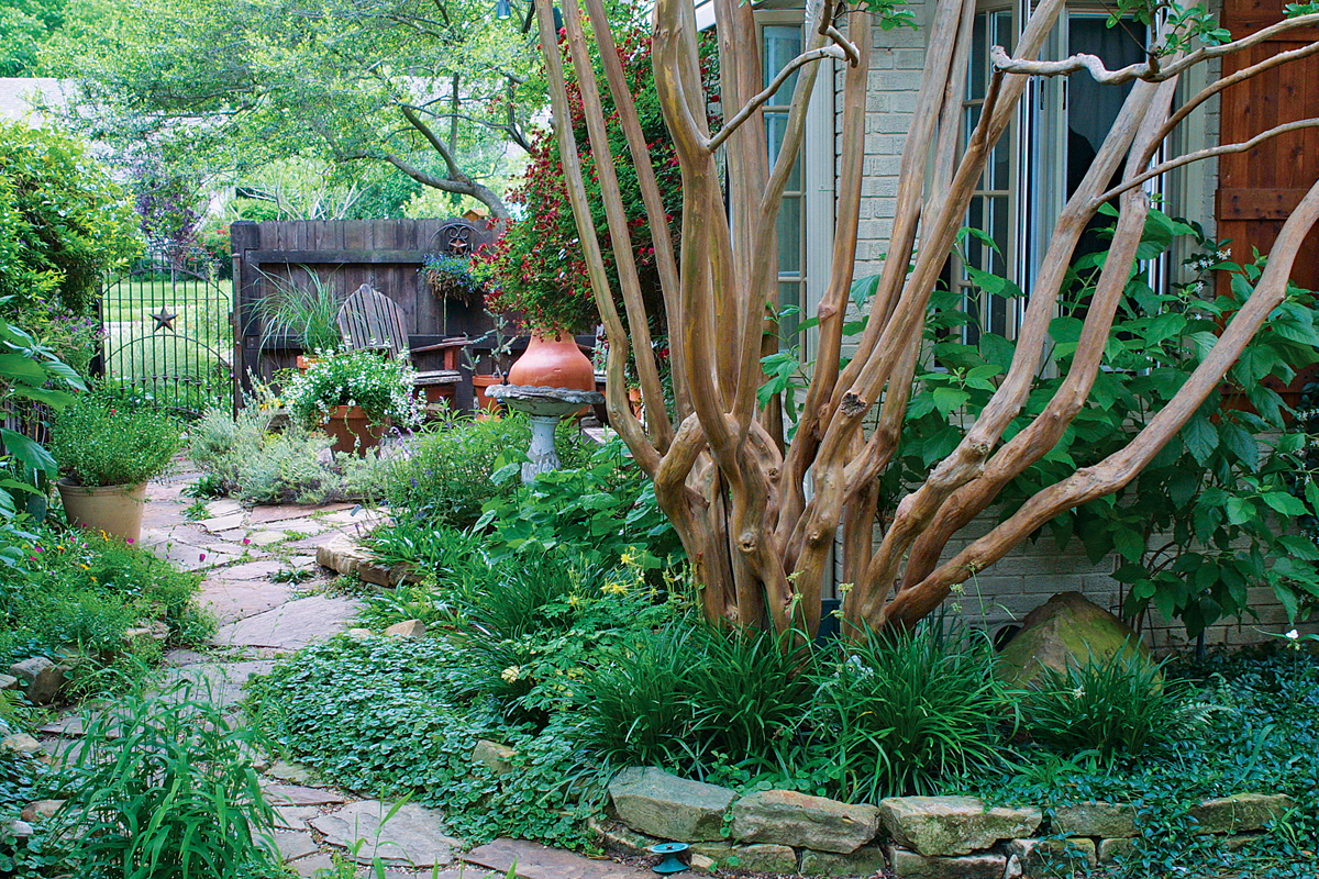 A natural looking garden path has overflowing plants