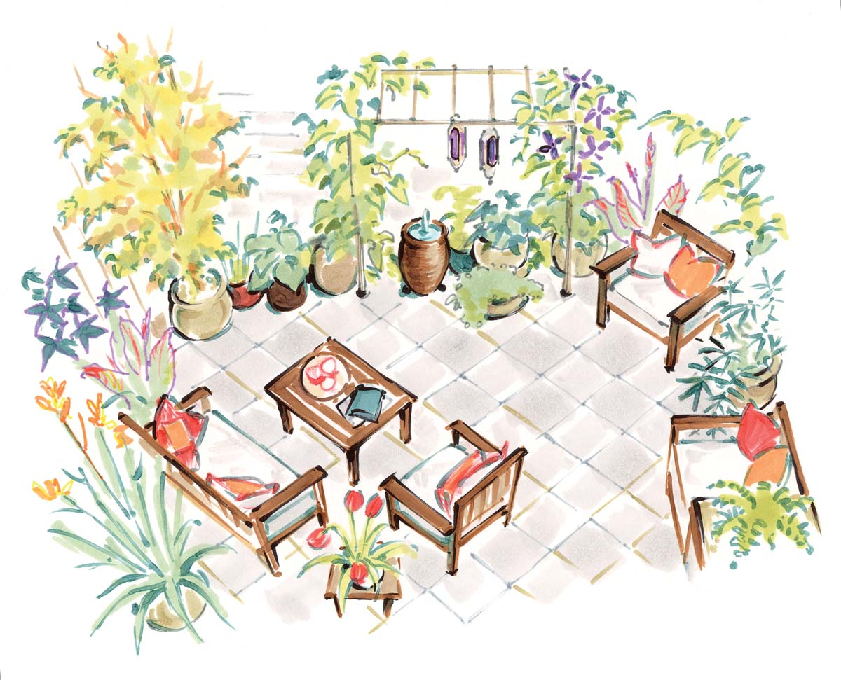 backyard patio illustration