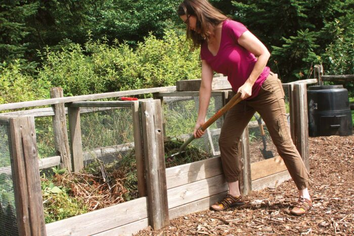 turning compost pile