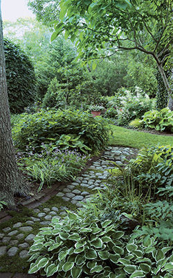 a small garden with pathways helps the space feel larger
