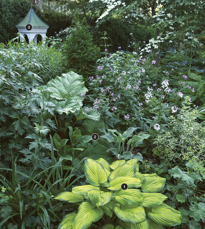 a layered garden bed helps the garden feel larger