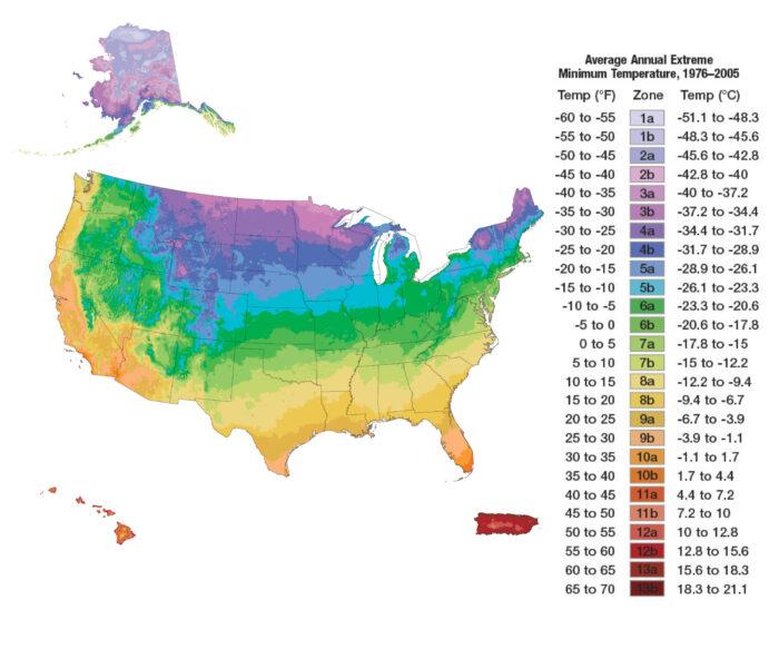 Continental United States plus Hawaii, Alaska, and Puerto Rico USDA Plant Hardiness Zone Map